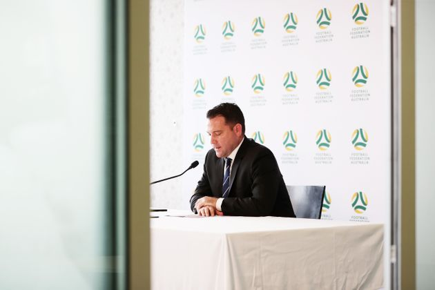 SYDNEY, AUSTRALIA - MARCH 24: FFA CEO James Johnson speaks to the media during a press conference regarding...
