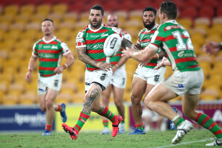 Adam Reynolds of the Rabbitohs passes the ball during the round 2 NRL match between the Brisbane Broncos and the South Sydney Rabbitohs at Suncorp Stadium on March 20, 2020 in Brisbane, Australia.