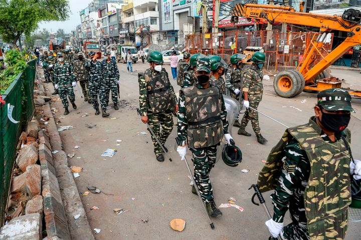 Security personnel patrol on the streets in Shaheen Bagh area after removing demonstrators.