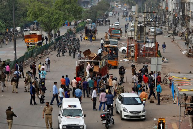 Police clear the site of protest in Shaheen Bagh area of New Delhi, March 24,