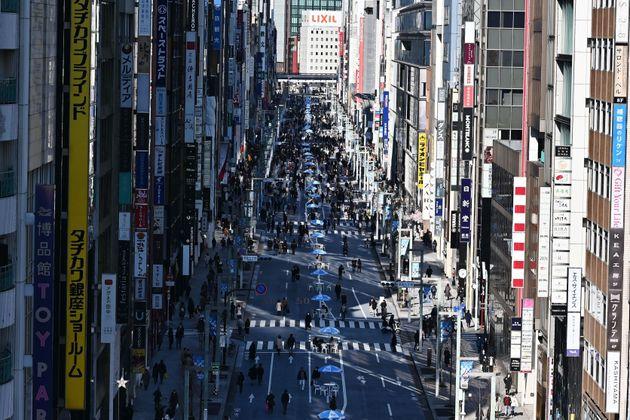 東京・銀座の歩行者天国(3月15日撮影)