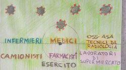 Un bimbo di 6 anni disegna la partita dell'Italia contro il coronavirus: