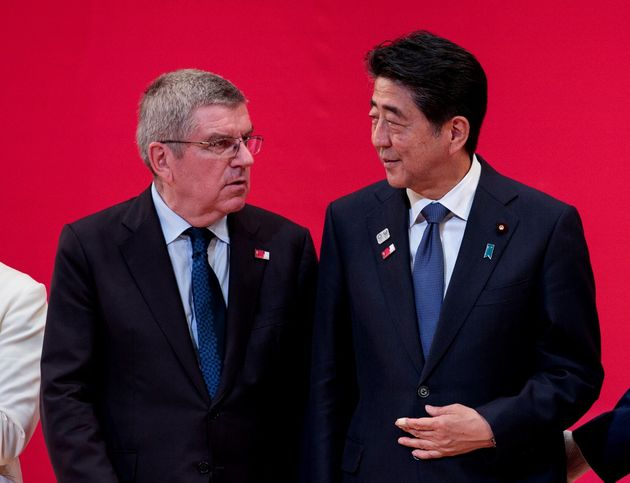 IOCのバッハ会長と安倍首相(2019年7月)