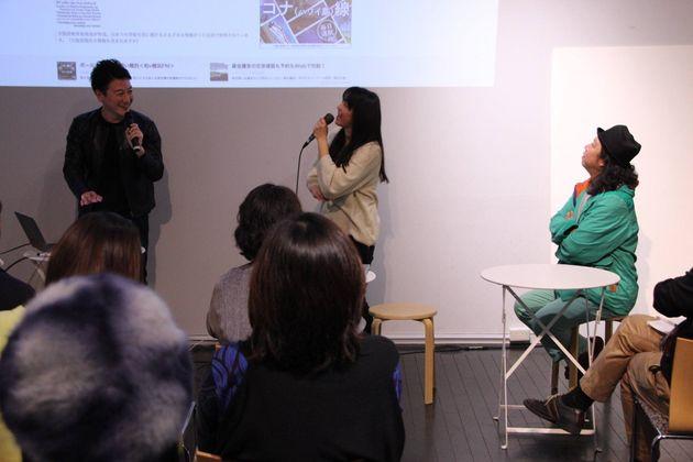堀潤さんの講座に招かれ、海外ルーツの子どもの現状について話す田中さん