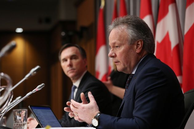 Bank of Canada governor Stephen Poloz (right) and Finance Minister Bill Morneau at a news conference...