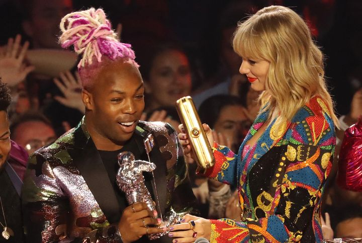 Todrick Hall and Taylor Swift onstage during the 2019 MTV Video Music Awards.