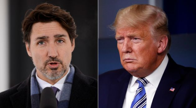 Prime Minister Justin Trudeau and U.S. President Donald Trump are shown in a composite image of photos...