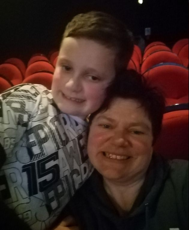 Helen Baker with her son Sam who is autistic
