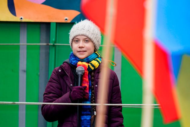 Greta Thunberg speaks at a climate march in Brussels, Belgium in early March. She says she started experiencing...