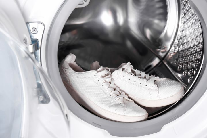 It's a good idea to wear shoes that are machine washable. Some athletic shoes can be tossed in the washing machine.