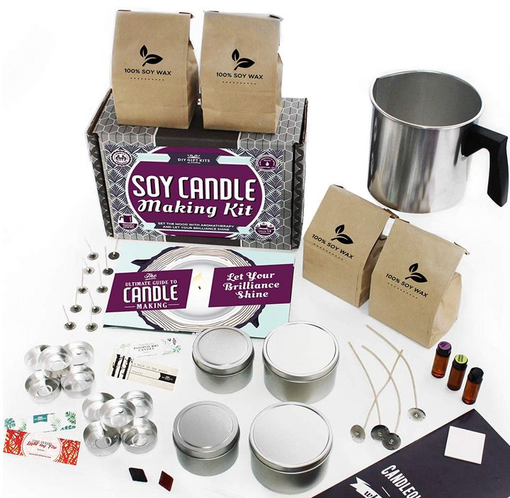 This candle making kit is safe-to-use and make it easy for beginners to create beautiful, original candles