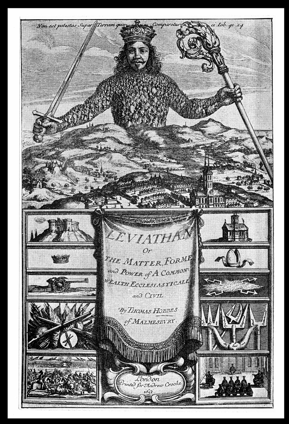 Εξώφυλλο του Λεβιάθαν (Leviathan or the Matter, Form and Power of a Commonwealth Ecclesiastical and Civil, 1651) αποτελεί έργο του Βρεταννού φιλοσόφου Thomas Hobbes  engraving by Abraham Bosse. (Photo by Stefano Bianchetti/Corbis via Getty Images) (Photo by Universal History Archive/Getty Images)