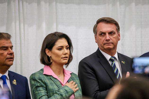 Presidente Jair Bolsonaro e Michelle em Miami, na viagem em que 22 integrantes da comitiva presidencial...