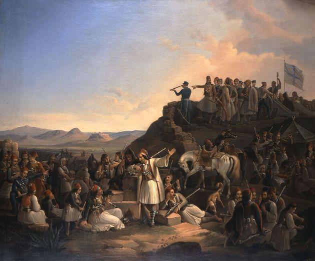 Θεόδωρος Βρυζάκης, Το στρατόπεδο του Καραϊσκάκη στην Καστέλα, 1855 Εθνική Πινακοθήκη-Μουσείο Αλεξάνδρου