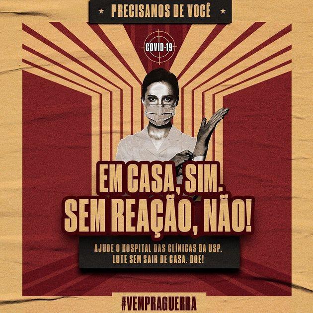 Imagem da campanha #VemPraGuerra, de profissionais voluntários do