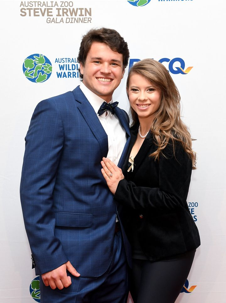 BRISBANE, AUSTRALIA - NOVEMBER 09: Bindi Irwin poses for a photo with fiance Chandler Powell at the annual Steve Irwin Gala Dinner at Brisbane Convention & Exhibition Centre on November 09, 2019 in Brisbane, Australia.