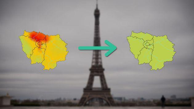 Par rapport à une journée normale, la qualité de l'air en Île-de-France s'est grandement améliorée depuis...