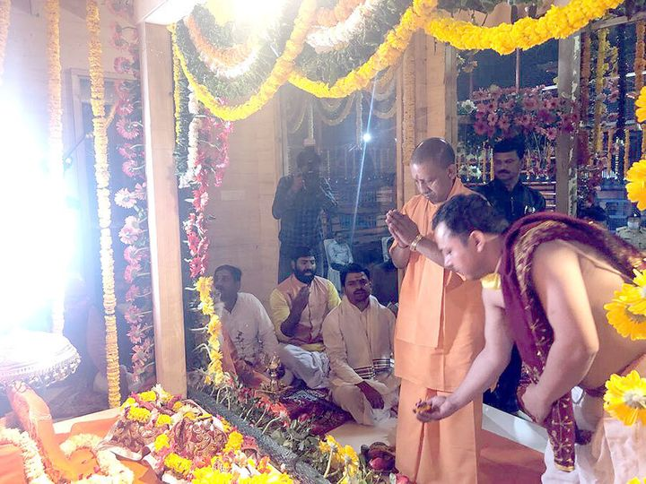 Chief Minister Yogi Adityanath offers prayers at the makeshift temple.