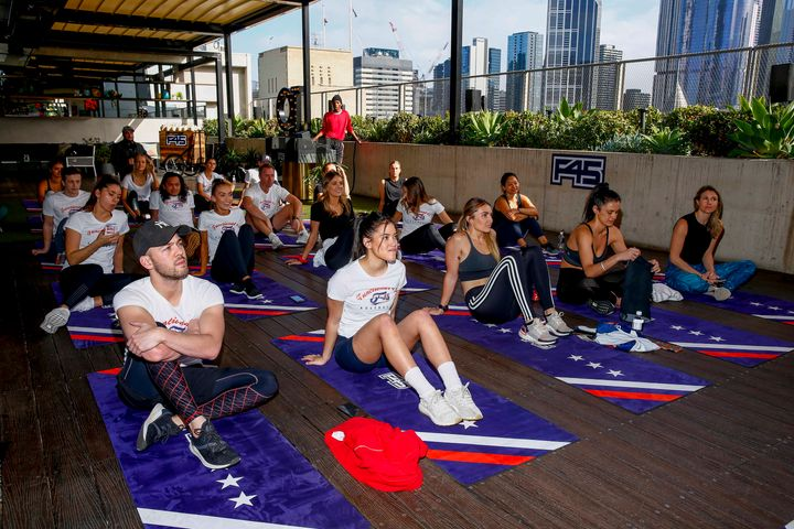 MELBOURNE, AUSTRALIA - AUGUST 22:  The F45 Training's Recovery Session launch at QT Melbourne on August 22, 2019 in Melbourne, Australia. (Photo by Sam Tabone/WireImage)