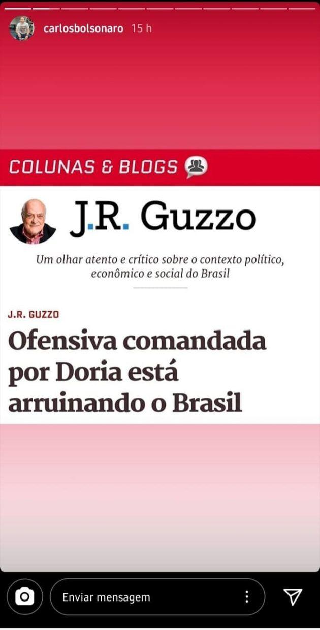 Reprodução do Story Instagram de Carlos Bolsonaro postado na terça-feira