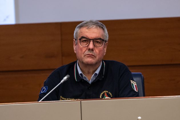 ROME, ITALY - 2020/02/22: Head of the Department of Civil Protection, Angelo Borrelli attends the press...