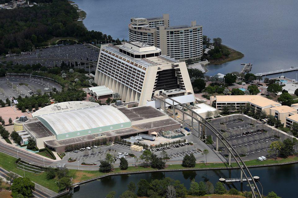 Αεροφωτογραφία του ξενοδοχείουDisney's Contemporary Resort - 23 Μαρτίου 2020.