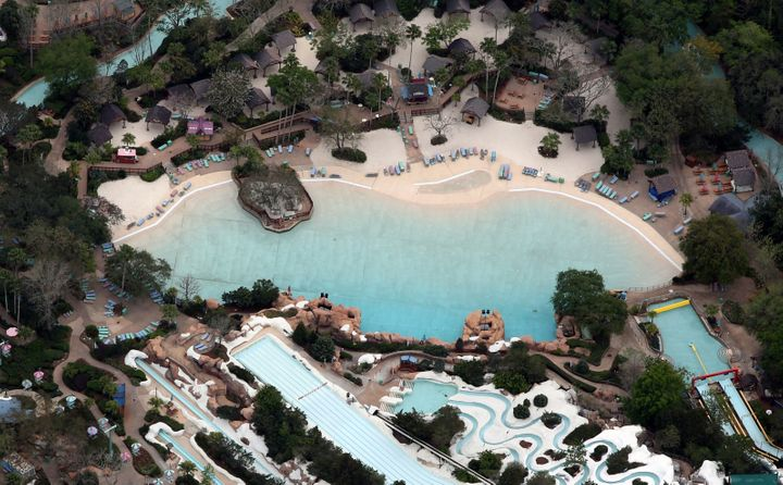 Disney's Blizzard Beach water park is empty of visitors on March 16, 2020.