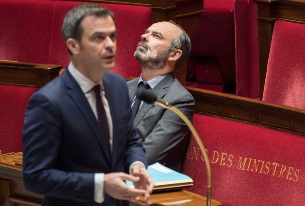 Olivier Véran et Édouard Philippe à l'Assemblée nationale le 24 mars