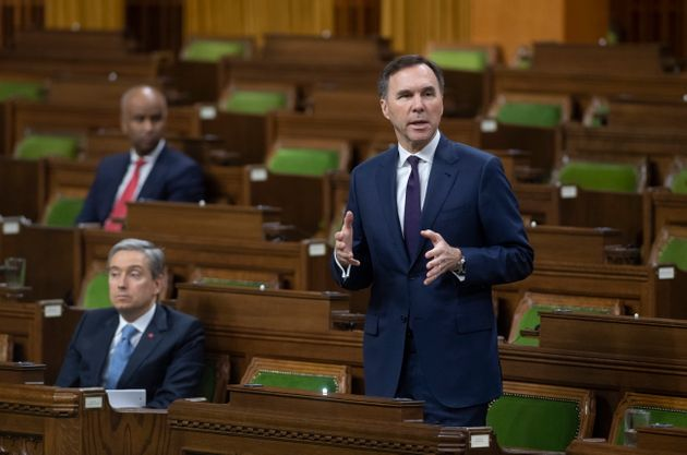Finance Bill Morneau responds to a question after tabling the governments COVID19 financial measures...