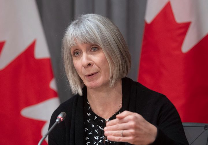Health Minister Patty Hajdu responds to a question during a news conference on the COVID-19 virus in Ottawa on March 23, 2020.