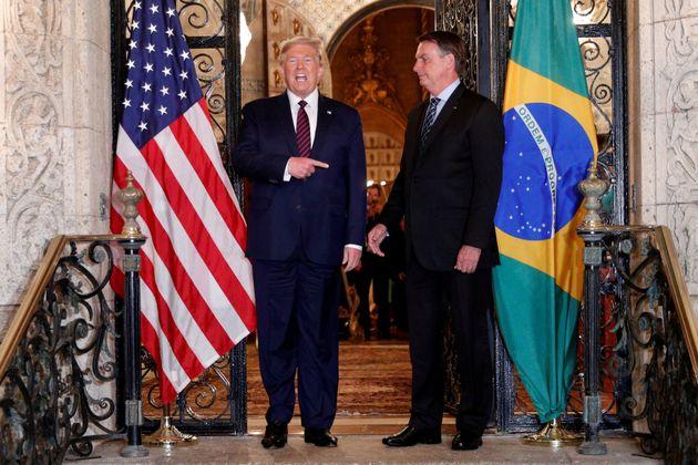 Encontro de Donald Trump e Jair Bolsonaro em março deste ano na