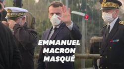À Mulhouse, Macron entame sa visite... en enfilant un