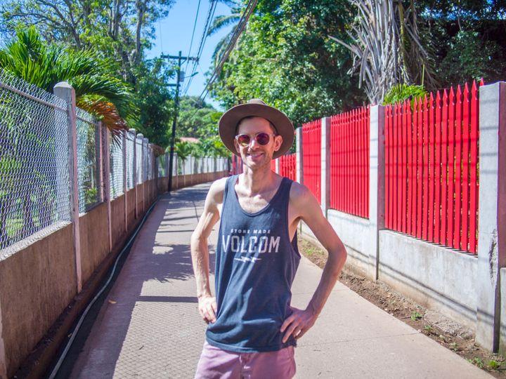 Patrick Dussault on the island of Utila, Honduras.