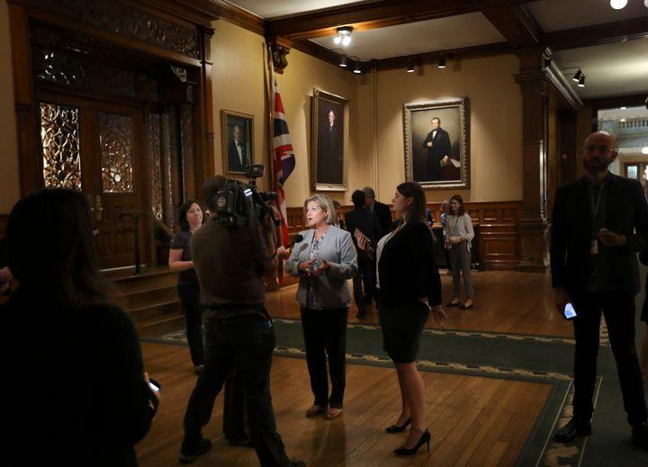 NDP leader Andrea Horwath speaks to reporters at Queen's Park in Toronto.