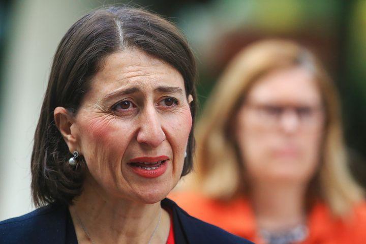 NSW Premier Gladys Berejiklian speaks at a press conference.