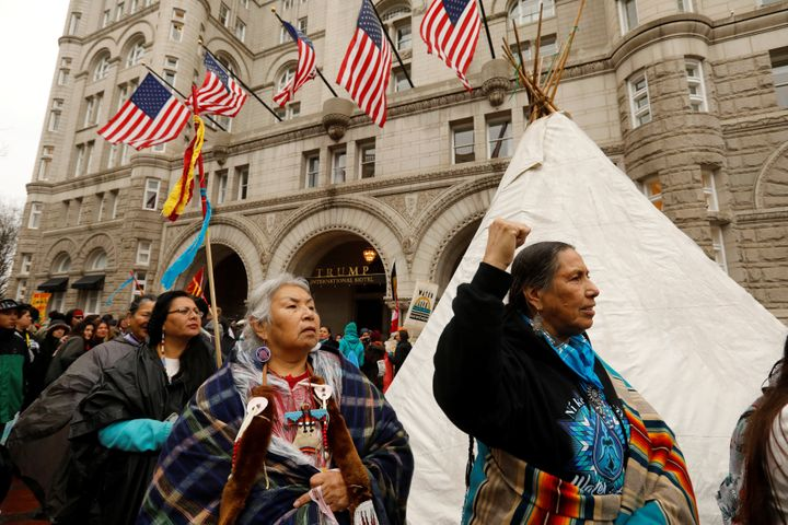Indigenous leaders participate in a protest march and rally in opposition to the Dakota Access and Keystone XL pipelines, in
