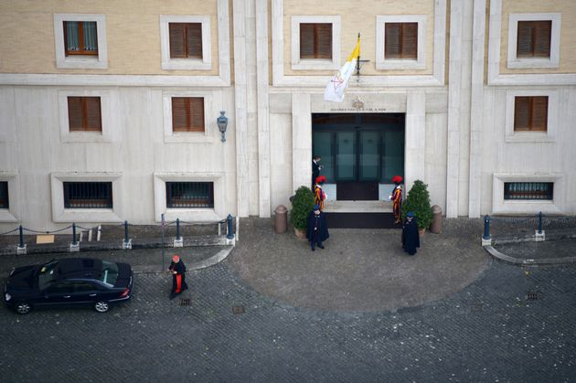A picture shows the cardinal's residence Casa Santa Marta, on March 14, 2013 at the Vatican, a day after...