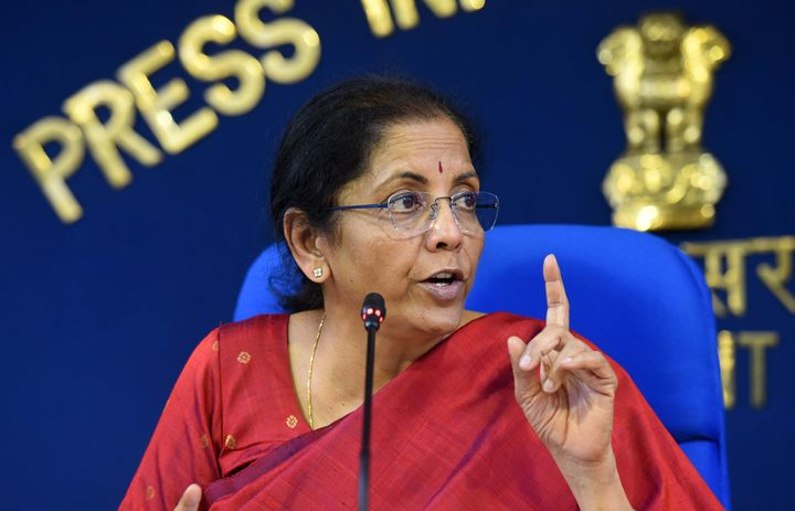 Union Minister Nirmala Sitharaman speaks to media on Cabinet decisions, at PIB Conference Hall, Shastri Bhawan on March 4, 2020 in New Delhi.