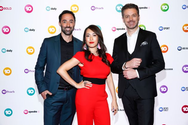 New MasterChef Australia judges Andy Allen, Melissa Leong and Jock Zonfrillo during the Network 10 Melbourne...