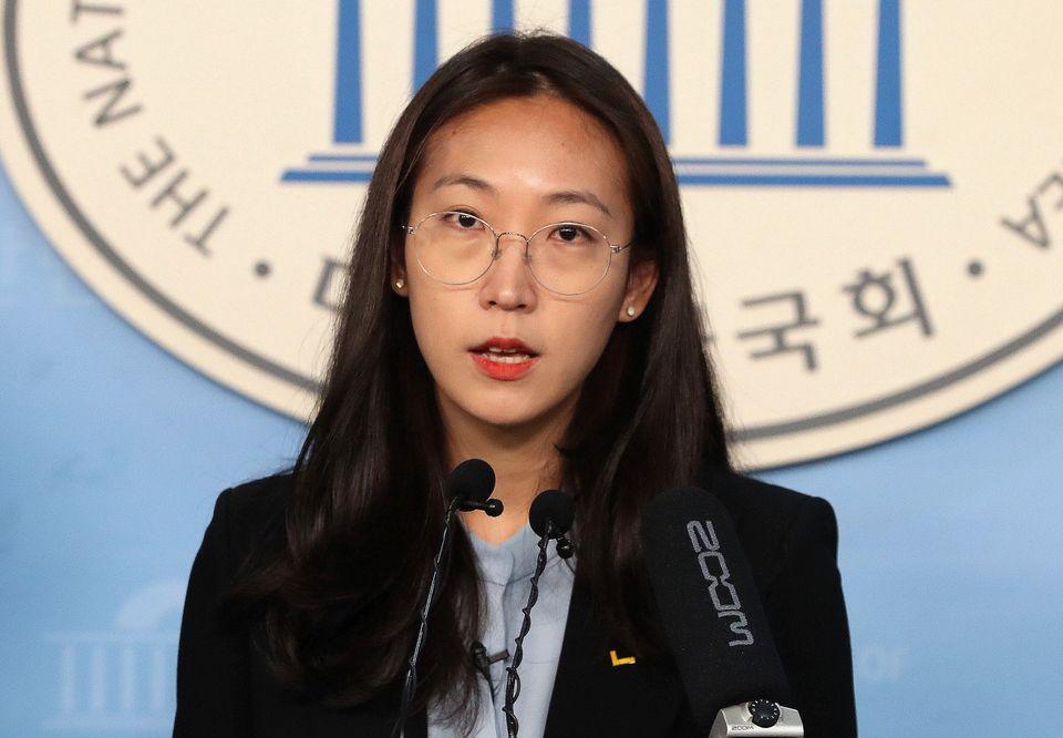 장혜영 정의당 미래정치특위 위원장이 2월 5일 오전 서울 여의도 국회 정론관에서 21대 총선 비례대표 출마선언을 하고