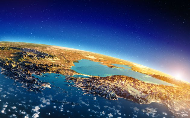Greece and Turkey sunrise. Elements of this image furnished by NASA. 3d