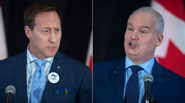 Conservative leadership candidates Peter MacKay and Erin O'Toole are shown in a composite image of photos...