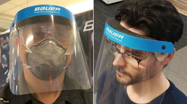 Bauer shared these images on their Twitter account Wednesday of protective gear for front-line hospital