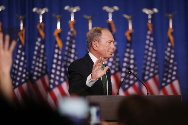 Former Democratic presidential candidate Mike Bloomberg addresses his staff and the media after announcing...