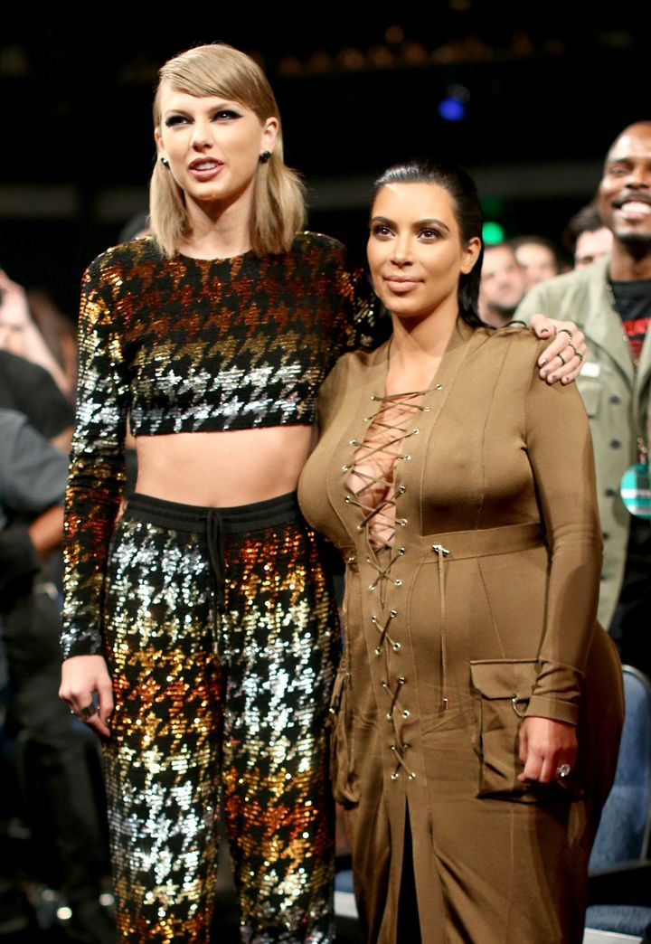 Taylor Swift and Kim Kardashian at the 2015 MTV Video Music Awards.