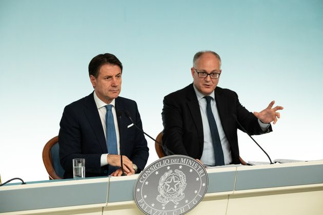 CHIGI PALACE, ROME, ITALY - 2019/09/30: Prime Minister Giuseppe Conte (L), with the Minister of Economy...