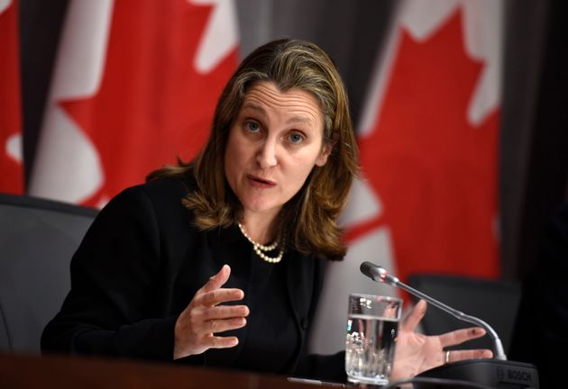 Deputy Prime Minister Chrystia Freeland speaks during a press conference on COVID-19 in West Block on...