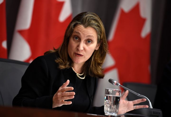 Deputy Prime Minister Chrystia Freeland speaks during a press conference on COVID-19 in West Block on Parliament Hill in Ottawa on March 19, 2020.