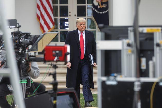 President Donald Trump arrives at a Fox News