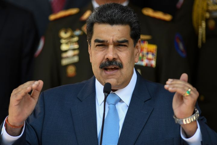 Nicolás Maduro speaks at the Miraflores Presidential Palace in Caracas, Venezuela, on March 12, 2020. The first cases